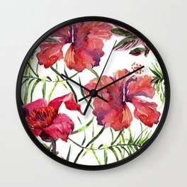Tropical Background. watercolor tropical leaves and plants. Hand painted jungle greenery background Wall Clock