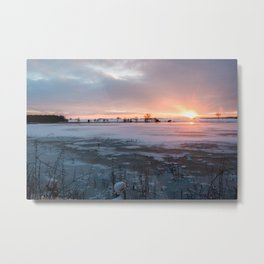 Sunrise at the Pond Metal Print