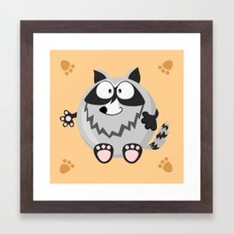 Raccoon from the circle series Framed Art Print
