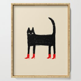 Black Cat in Red Boots Serving Tray