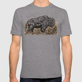 Buffalo's Roam, American Bison Linocut Print with Collage T-shirt