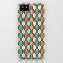 Midcentury Hexagon Argyle on Grey iPhone Case