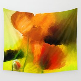 Poppies on green Wall Tapestry