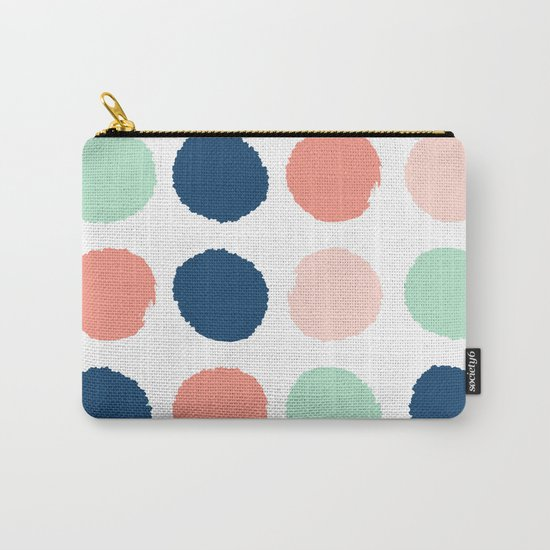 Polka dots abstract dotted pattern brushstrokes paint brush marks abstract trendy colors Carry-All Pouch