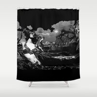 hercules Shower Curtains featuring Maenad Rising by AF Knott