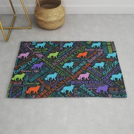 Border Collie Dog Word Art pattern Rug