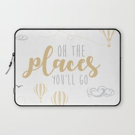 OH THE PLACES YOU'LL GO - HOT AIR BALLOON BEIGE Laptop Sleeve