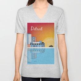 Detroit, Michigan - Skyline Illustration by Loose Petals Unisex V-Neck