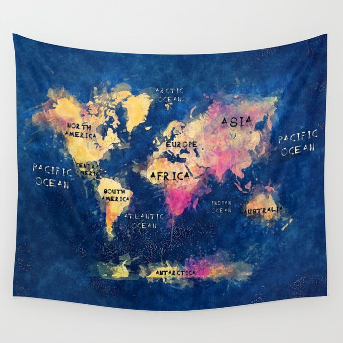 world map oceans and continents 2 Wall Tapestry