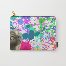 Cat And Paint Splashes Carry-All Pouch