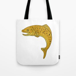 Brown Trout Jumping Drawing Tote Bag