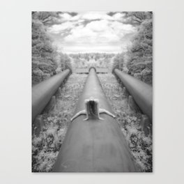 0925-LP Industrial Nature Nude Woman Straddling Massive Hydro Pipe Canvas Print