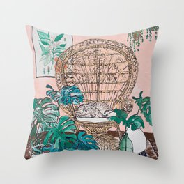 Napping Tabby Cat in Cane Peacock Chair in Tropical Jungle Room Throw Pillow