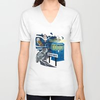 hedwig V-neck T-shirts featuring Hedwig Says Who! by Laughing Devil