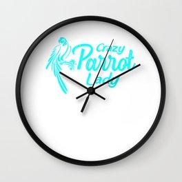 Crazy Parrot Lady tq Wall Clock