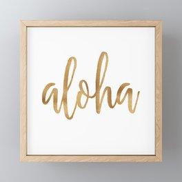 Aloha - gold and white Framed Mini Art Print