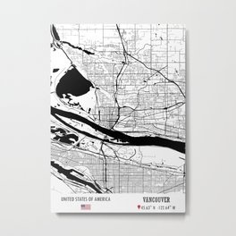 Vancouver, USA Road Map Art - Earth Tones Metal Print