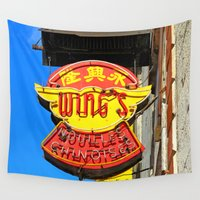 cookies Wall Tapestries featuring Noodles & Fortune Cookies  by Ethna Gillespie