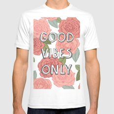 Good vibes only / calligraphy and floral illustration White Mens Fitted Tee MEDIUM
