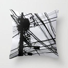 Tokyo wires Throw Pillow