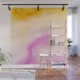 Sunflower yellow magenta pink abstract watercolor paint Wall Mural