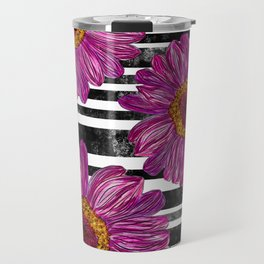 Pink Ink Flowers on Black & White Stripes Travel Mug