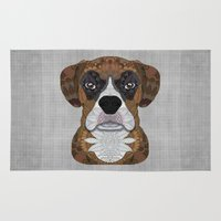 boxer Area & Throw Rugs featuring Boxer by ArtLovePassion