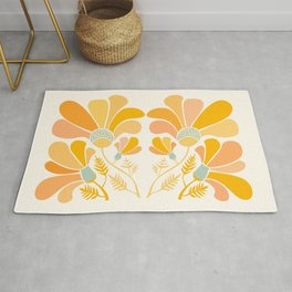 Summer Wildflowers in Golden Yellow Rug