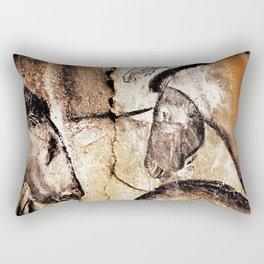 Facing Horses // Chauvet Cave Art Rectangular Pillow