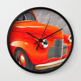 Vintage Orange Hot Rod by Liane Wright Wall Clock