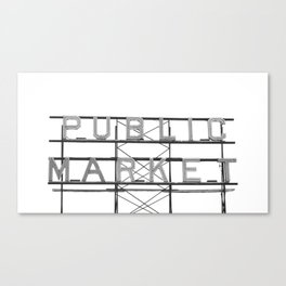 Pike Place Public Farmers Market - Black and White Canvas Print