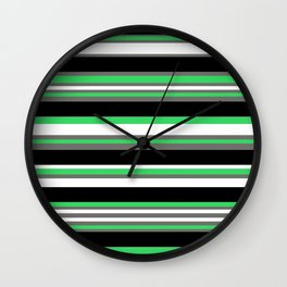 Stripes Pattern: Green Wall Clock