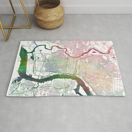 Philadelphia Map Watercolor by Zouzounio Art Rug