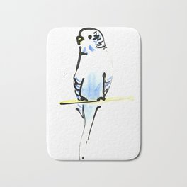 Blue and Yellow Pet Budgie Print Bath Mat