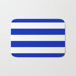 Cobalt Blue and White Wide Cabana Tent Stripe Bath Mat