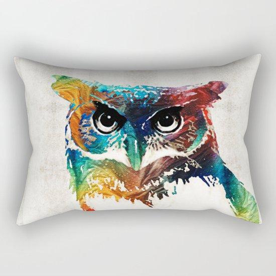 Colorful Owl Art - Wise Guy - By Sharon Cummings Rectangular Pillow