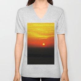 sunset in Oia Unisex V-Neck