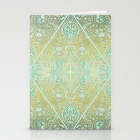 bedding Stationery Cards featuring Mint & Gold Effect Diamond Doodle Pattern by micklyn