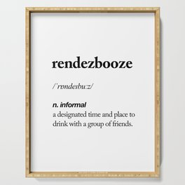 Rendezbooze black and white contemporary minimalism typography design home wall decor bedroom Serving Tray