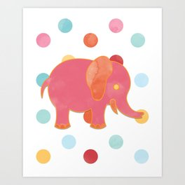 Elephant on Polkadots Nursery Art Art Print