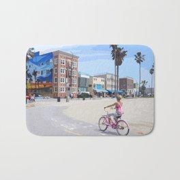 Riding bike in Venice Beach Bath Mat