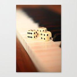 Dice on Piano Canvas Print