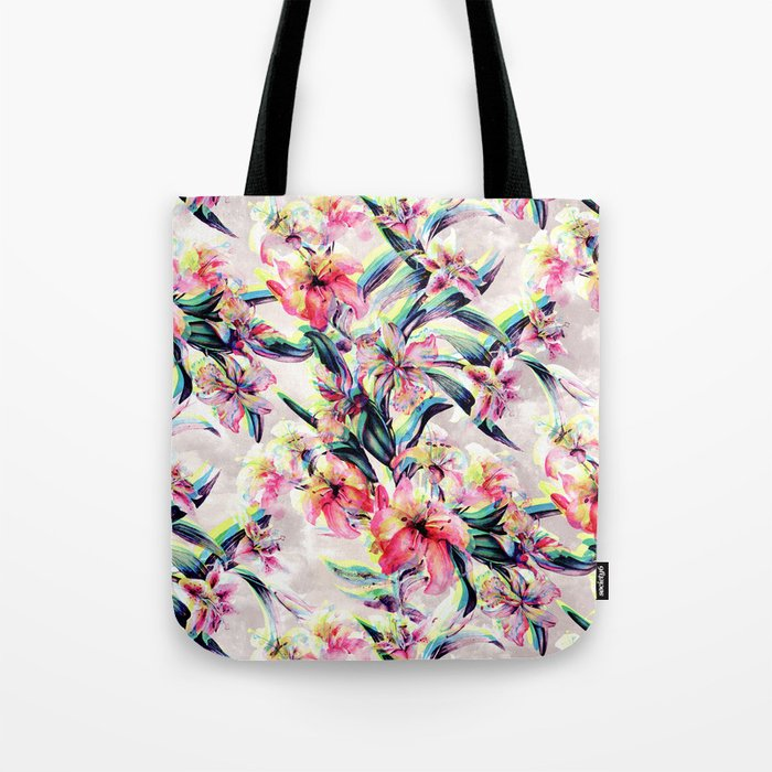 RPE Floral Glitch Tote Bag