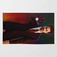 tony stark Area & Throw Rugs featuring Art Of Tony Stark Iron Man by Andrian Kembara