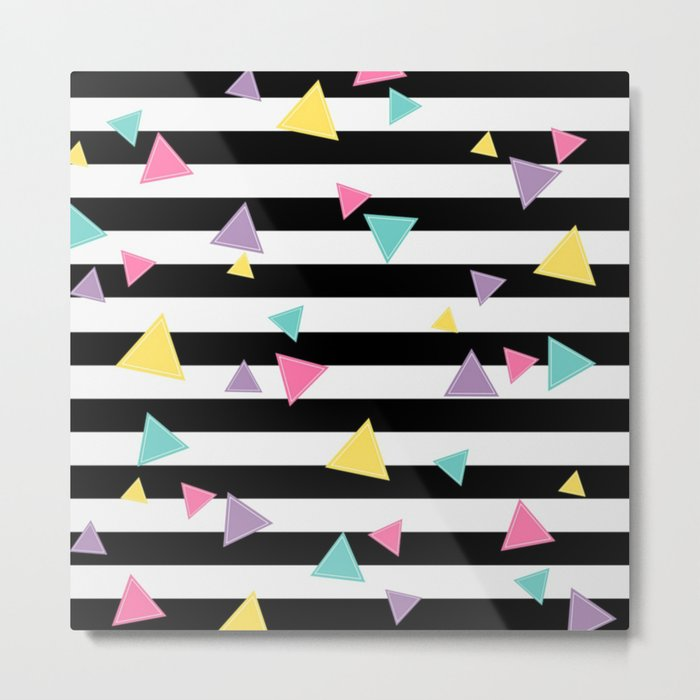 80's Black White Colorful Triangle Metal Print