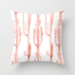 Pretty Coral Pink Cactus Pattern Throw Pillow