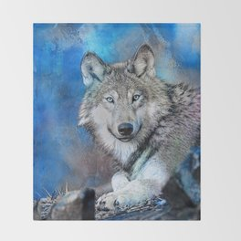 Blue Wolf Wildlife Mixed Media Art Throw Blanket