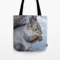 squirrel Tote Bags featuring Squirrel by Svetlana Korneliuk