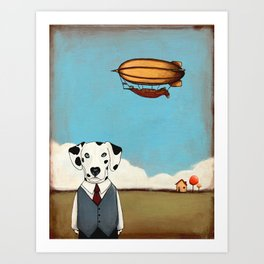 The Dog and The Blimp anthropomorphic  Art Print