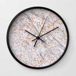 Rose gold diamond confetti on marble Wall Clock